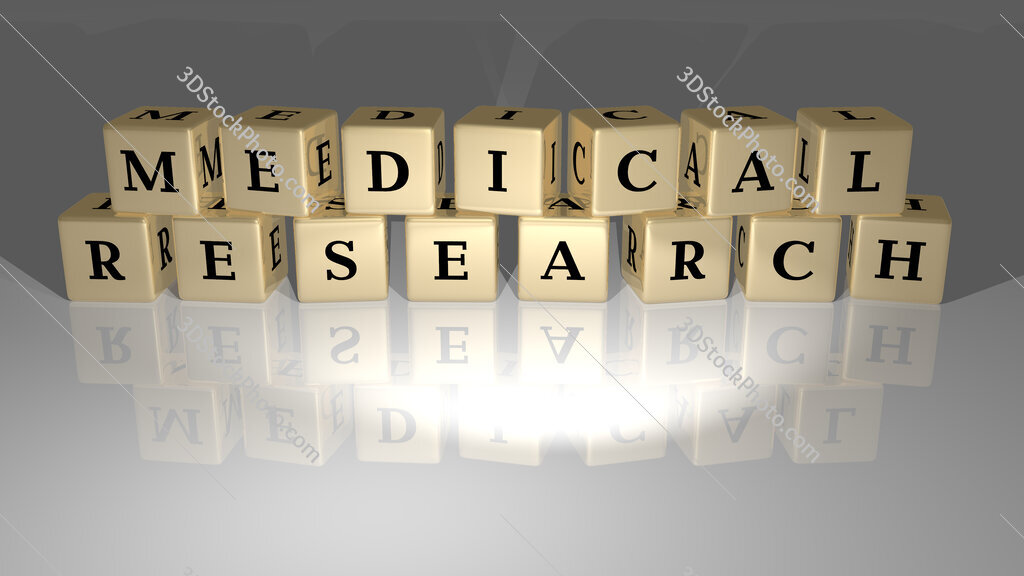 Medical research text of cubic dice letters on the floor and 3D icon on the wall