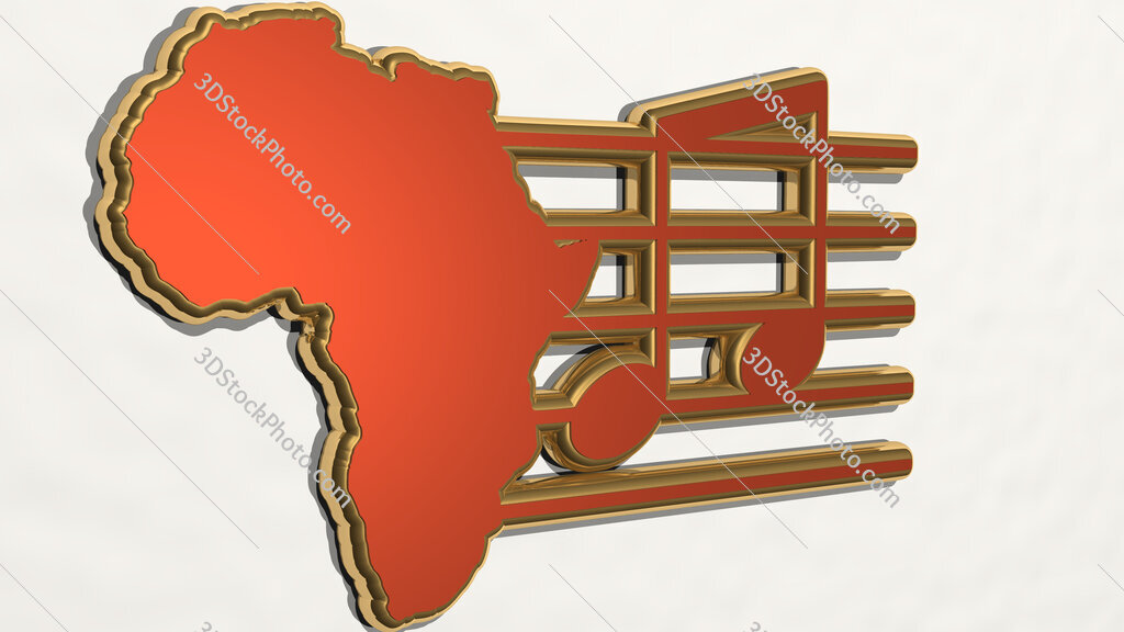 Africa and music 3D drawing icon