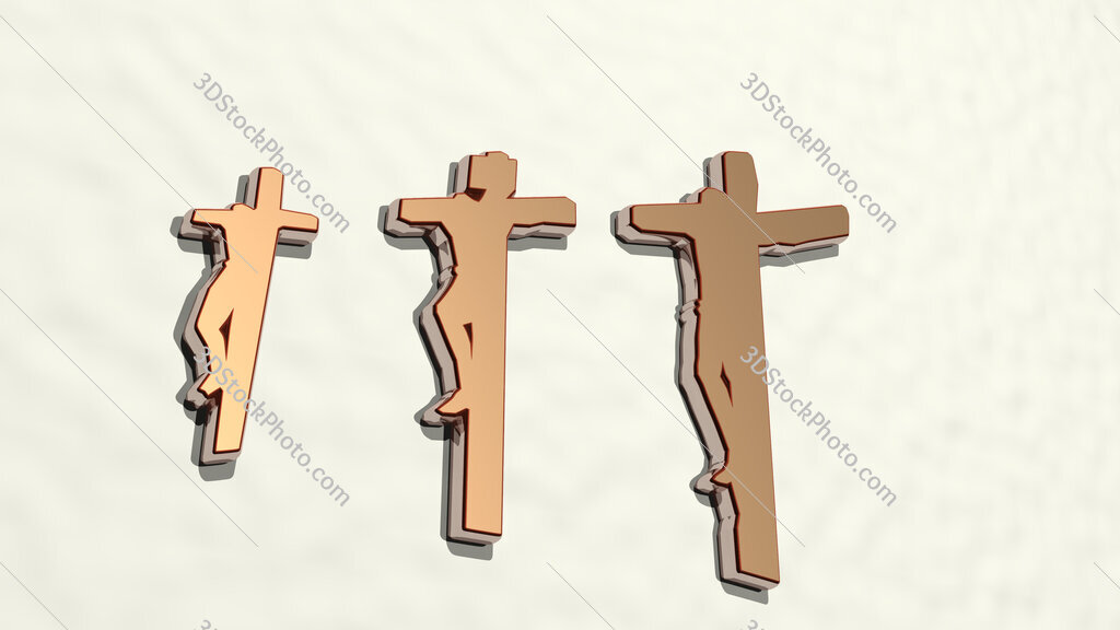 people crucified on Christian cross 3D drawing icon