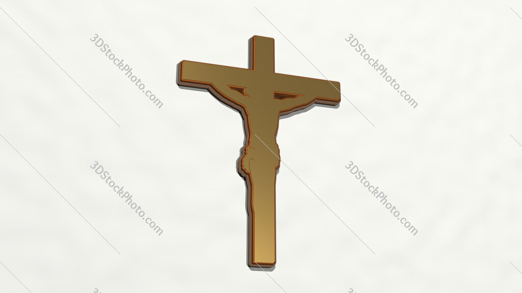 Christian cross with Jesus 3D drawing icon