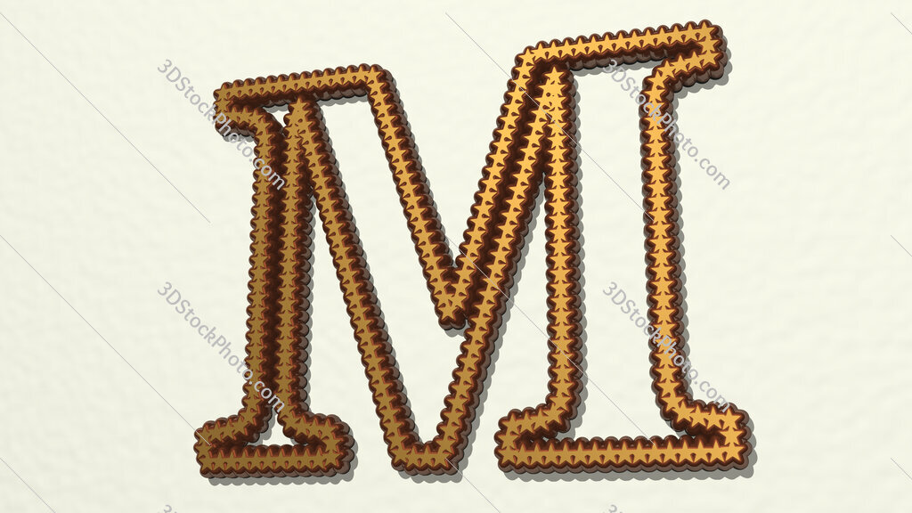 letter M made of stars 3D drawing icon