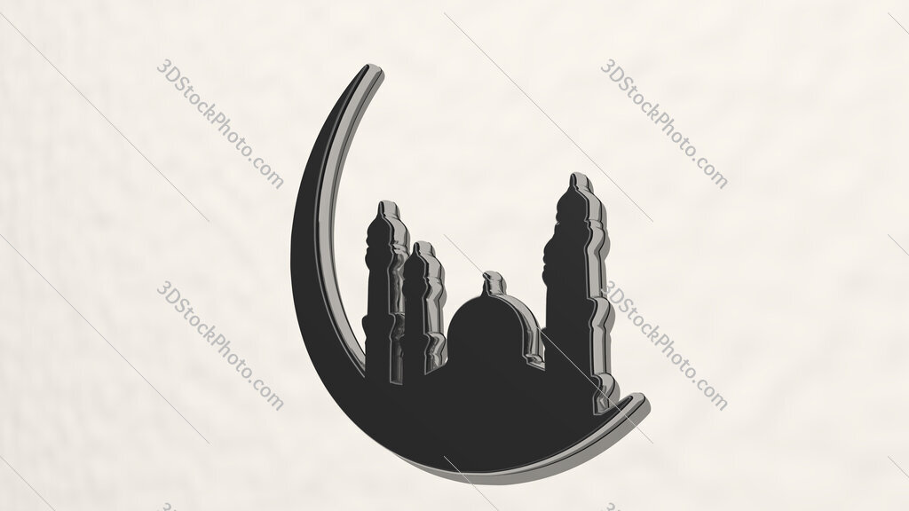 Arabic mosque 3D drawing icon