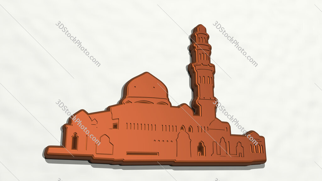 Arabic building 3D drawing icon