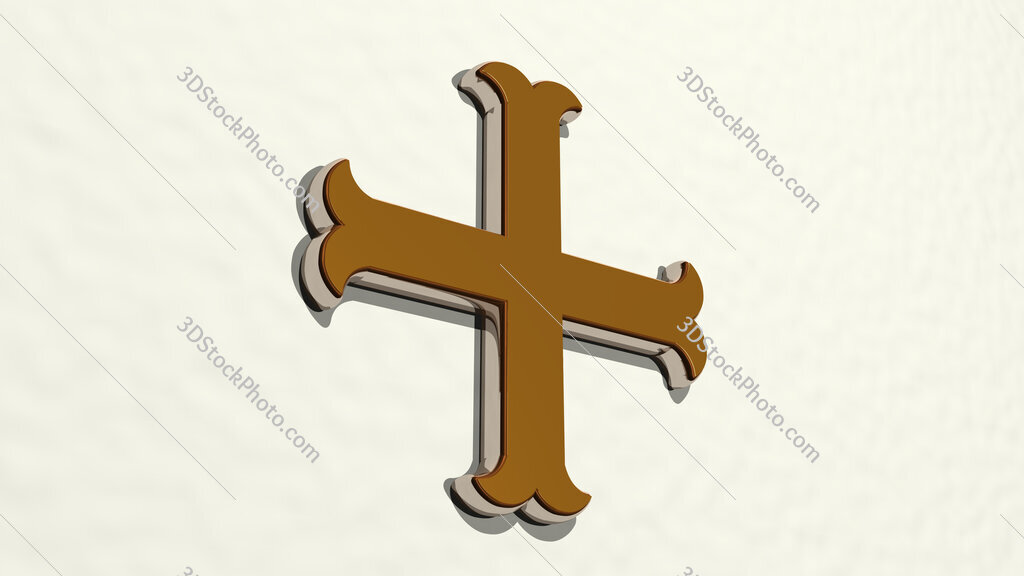 Christian cross 3D drawing icon