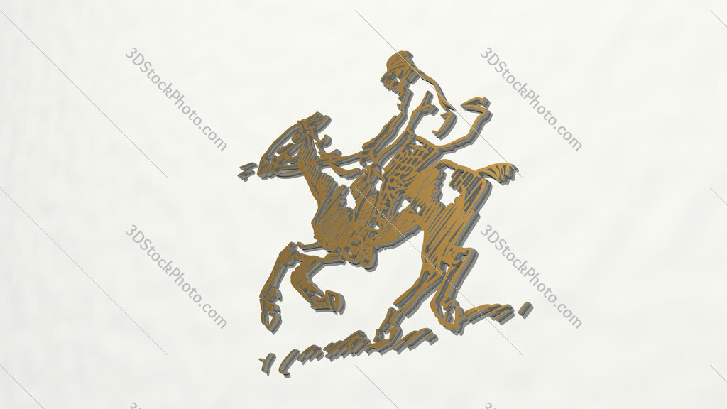 horse ridding drawing 3D drawing icon