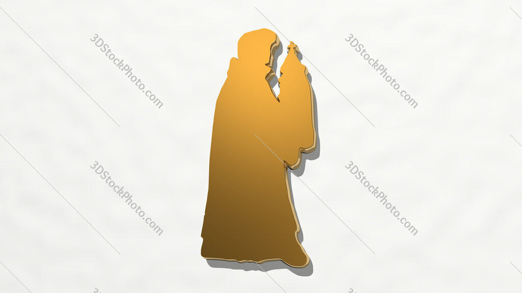Christian prayer 3D drawing icon