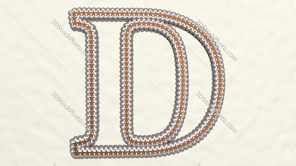 letter D made of stars 3D drawing icon