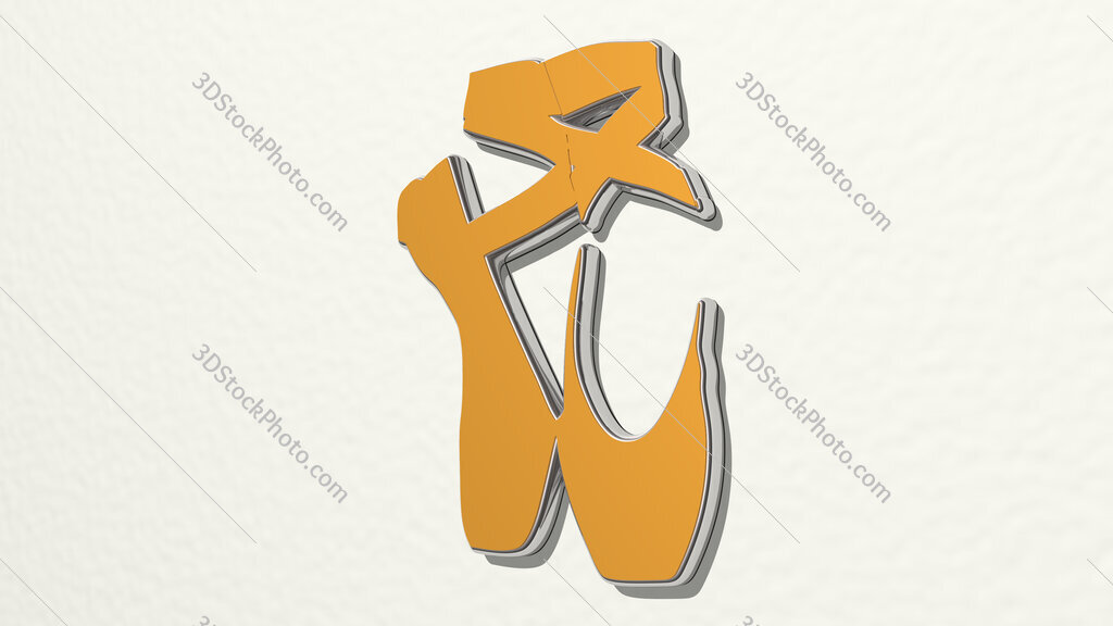 ballet shoes 3D drawing icon