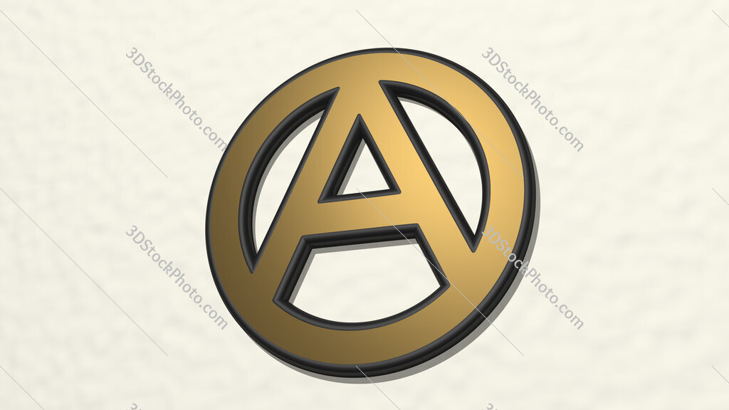 letter A in circle 3D drawing icon