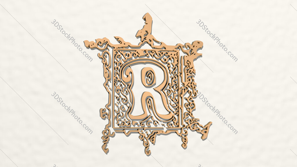 ancient R letter 3D drawing icon