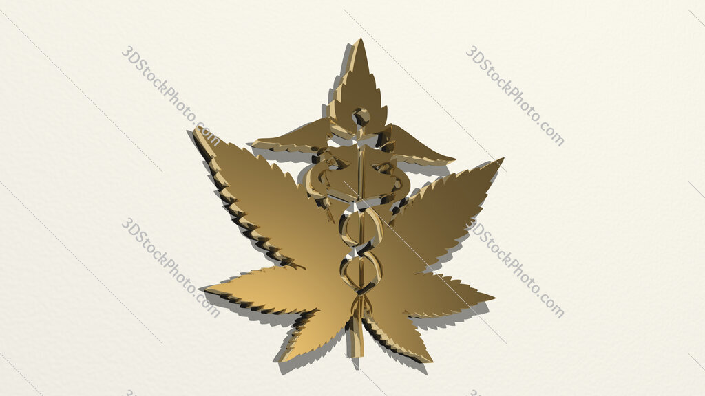weed for medical use 3D drawing icon