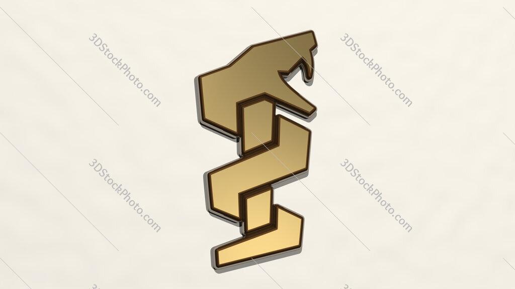snake medical symbol 3D drawing icon