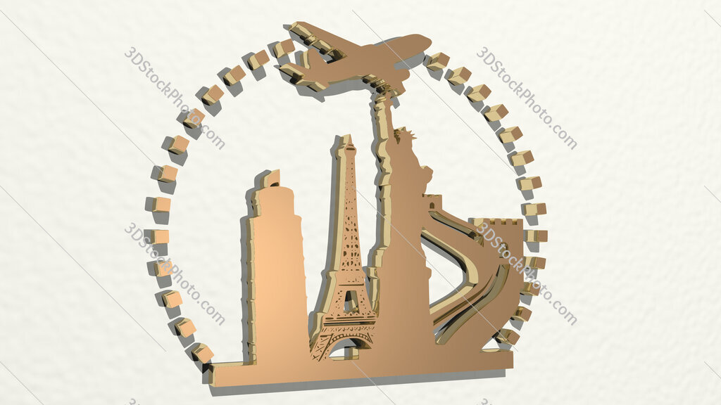 traveling around the world 3D drawing icon