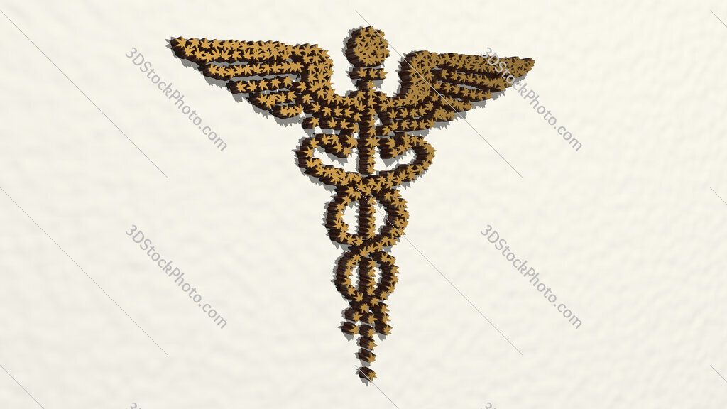 medical snakes symbol 3D drawing icon