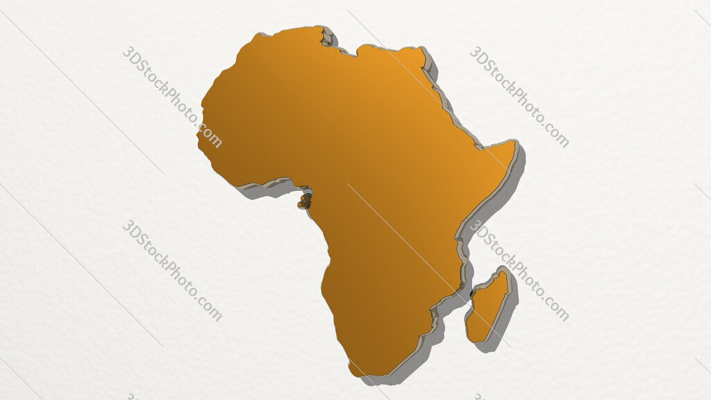map of Africa 3D drawing icon