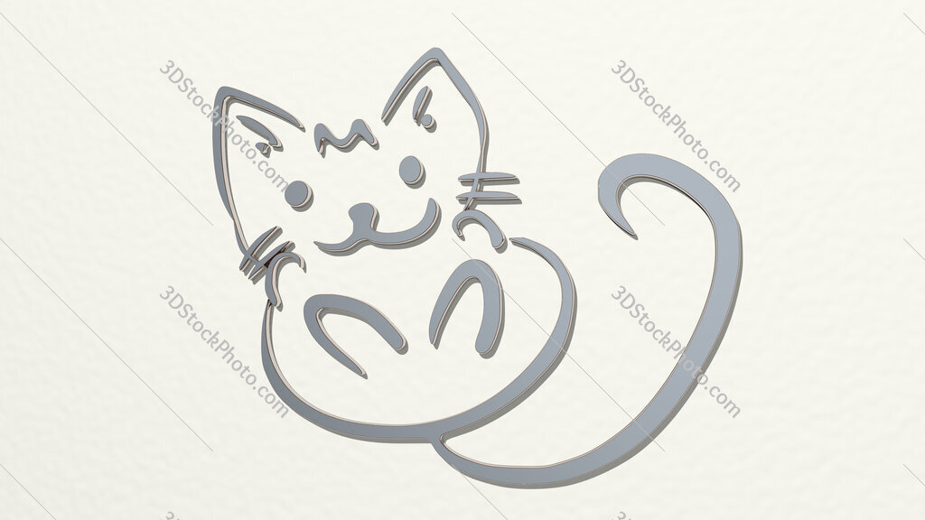 kitten drawing by lines 3D drawing icon