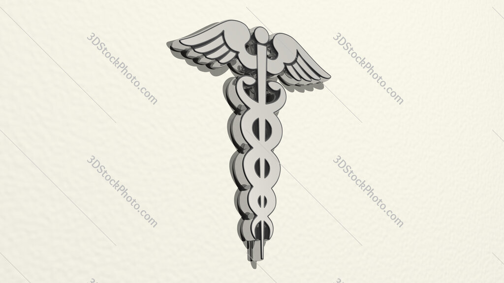 medical snake sign 3D drawing icon