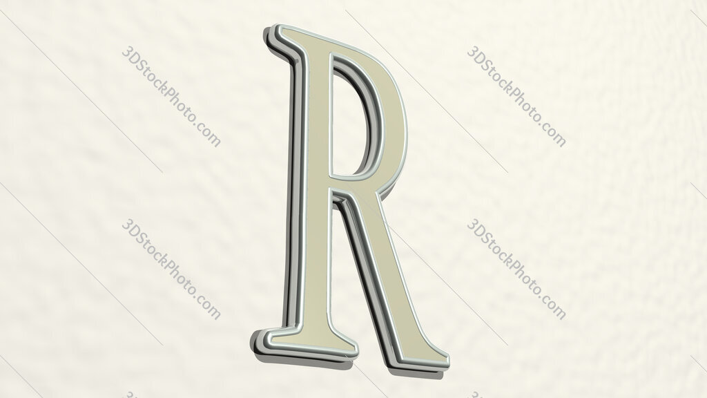 letter R 3D drawing icon