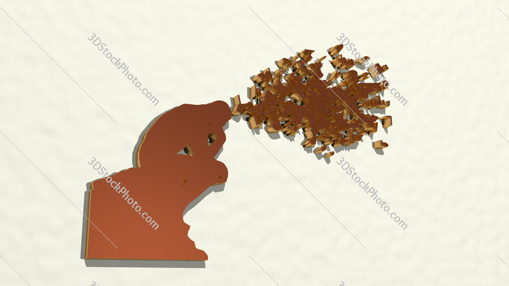 man with thoughts in letters 3D drawing icon