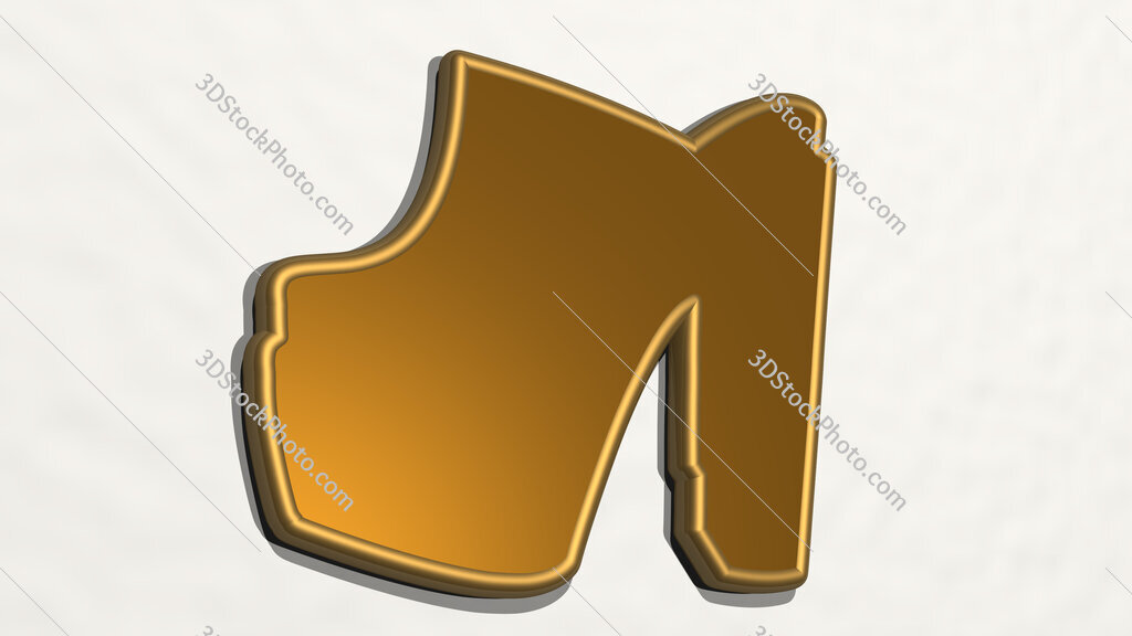 high heel shoes 3D drawing icon