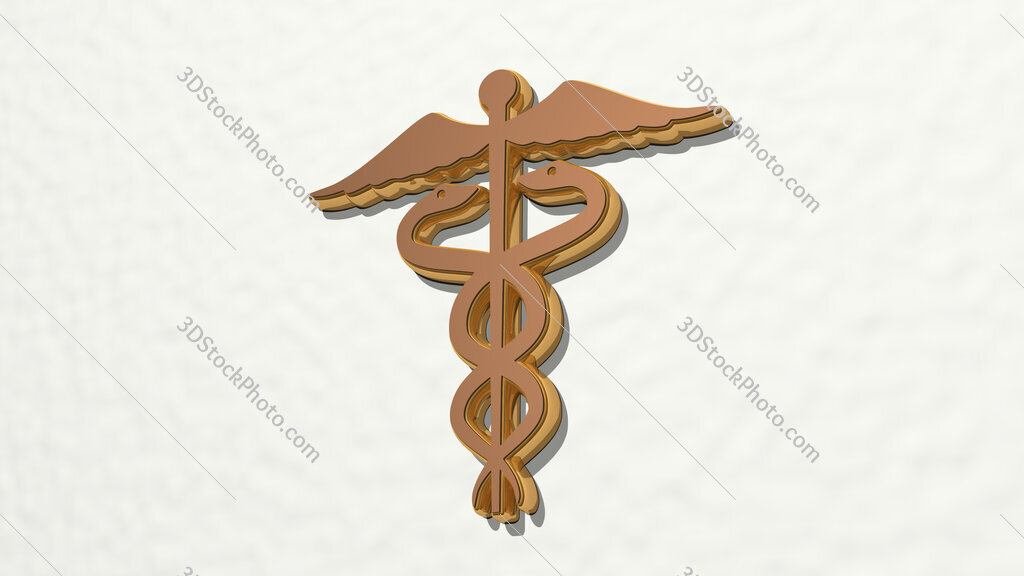 medical snakes sign 3D drawing icon