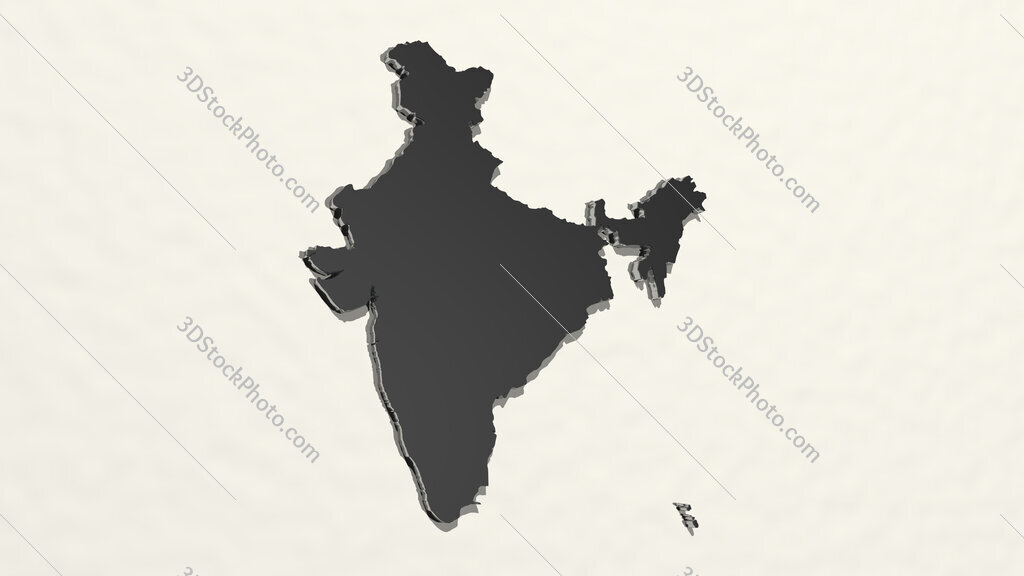 map of India 3D drawing icon