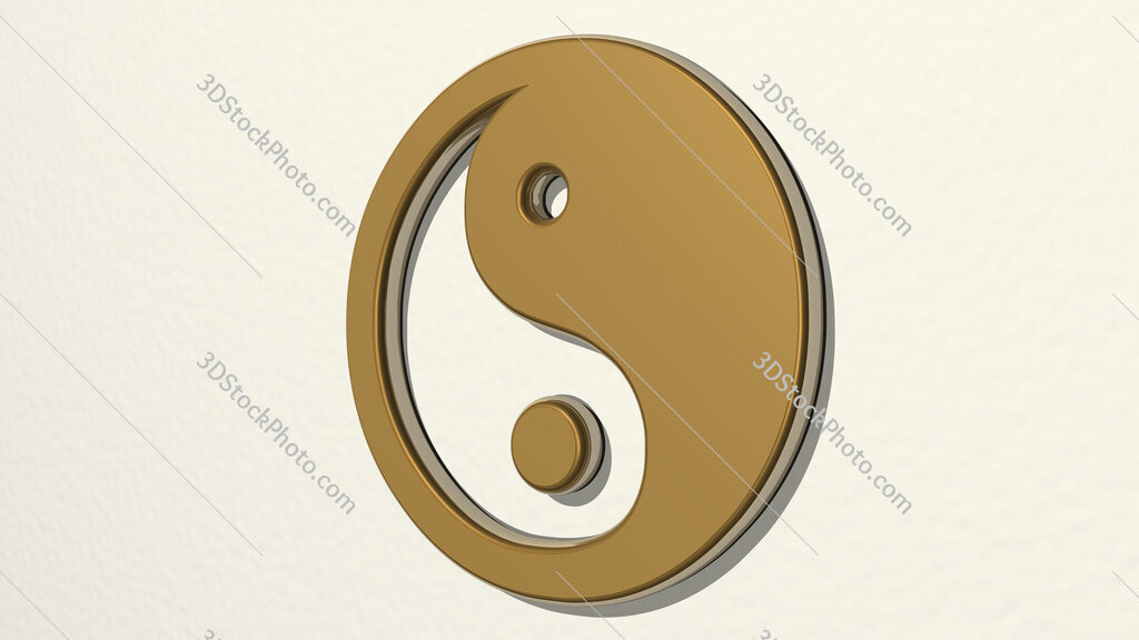 Chinese yin and yang symbol 3D drawing icon