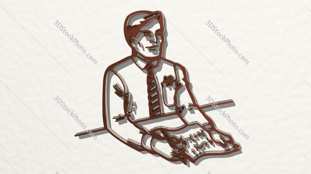 news anchor or interviewer 3D drawing icon