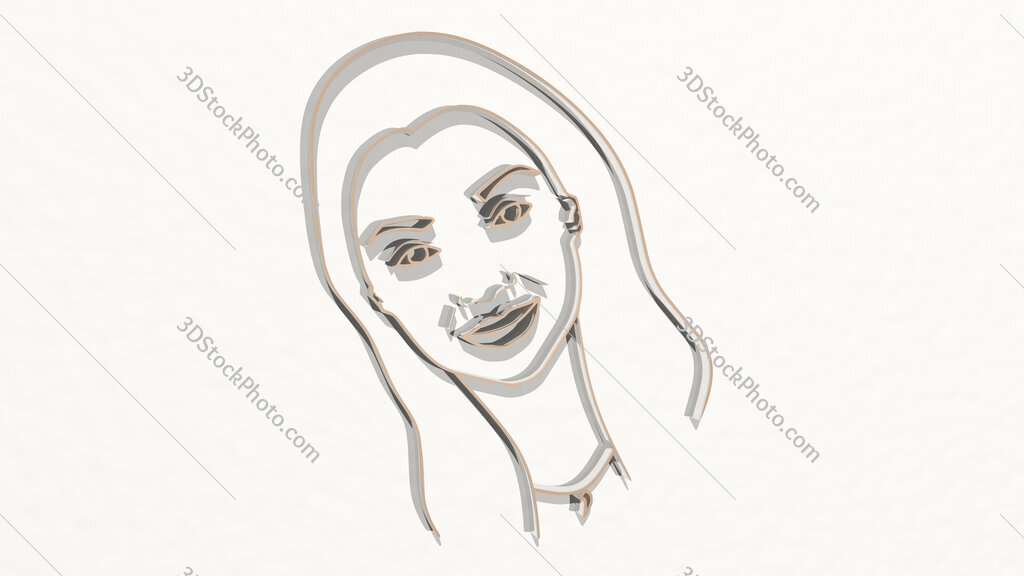 drawing o girl face 3D drawing icon