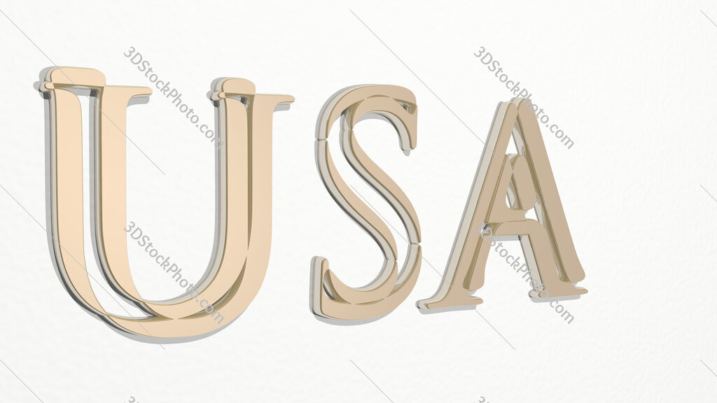USA sign in letters 3D drawing icon
