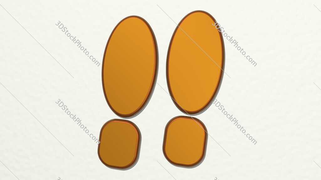 man shoes footprint 3D drawing icon