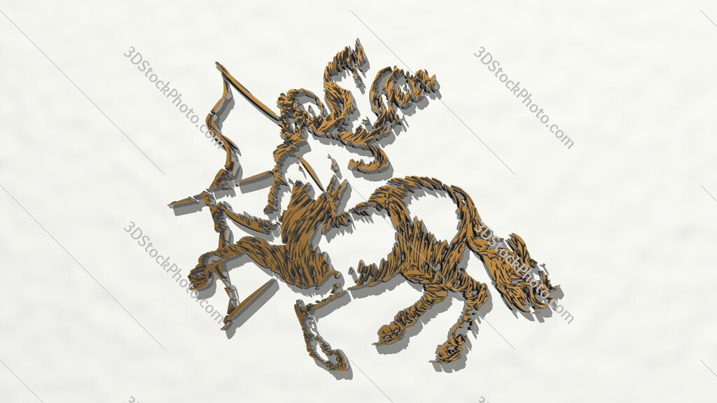 drawing o centaur horse with human head 3D drawing icon