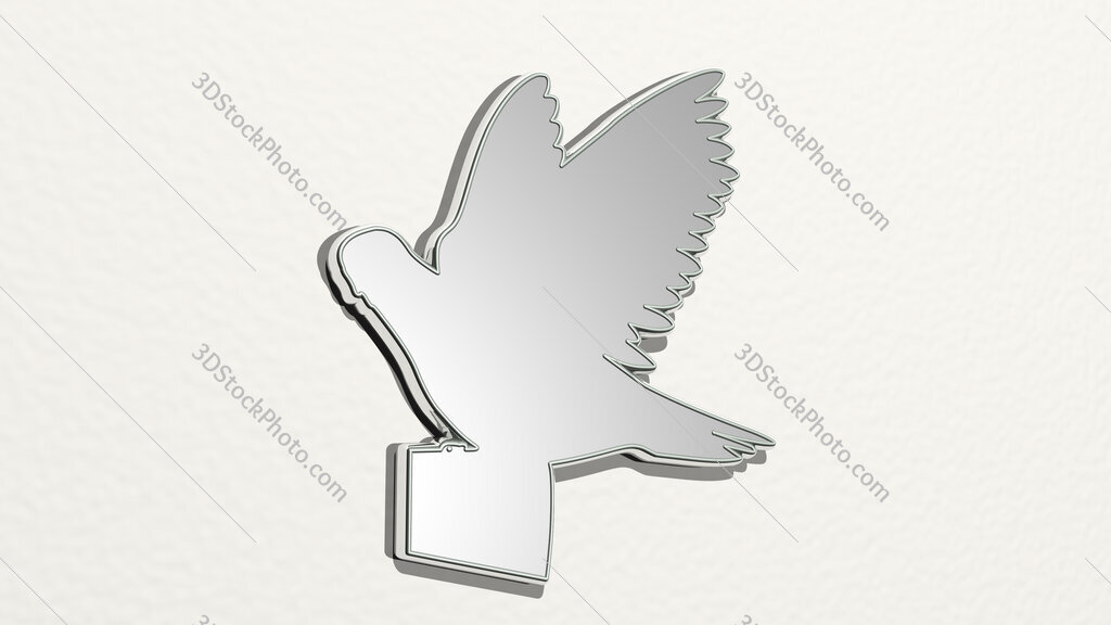 bird letter 3D drawing icon