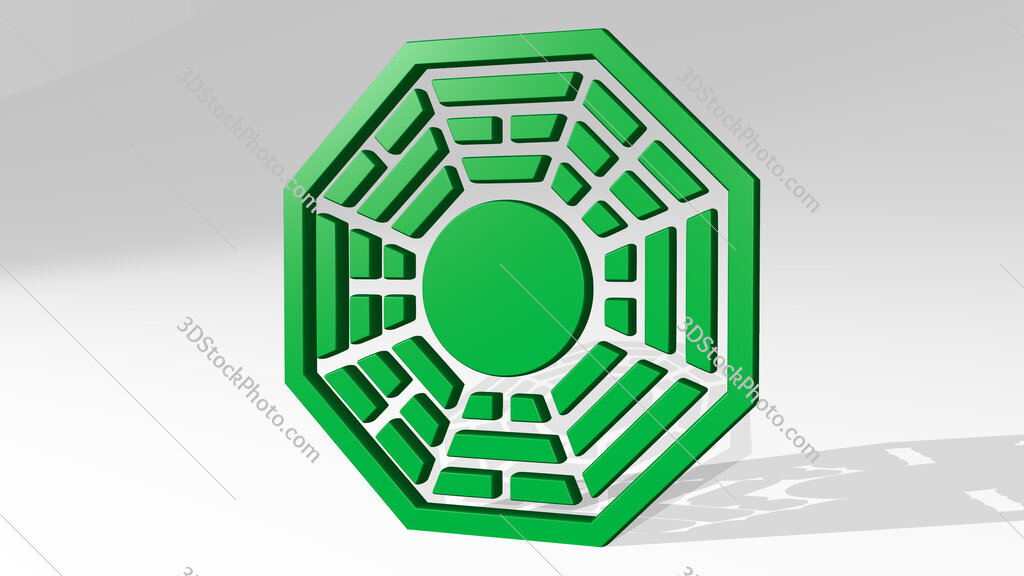 Chinese symbol 3D icon casting shadow