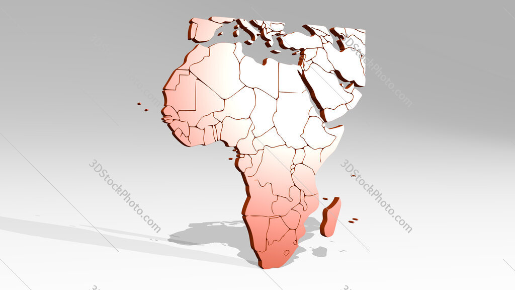 map of Africa 3D icon casting shadow