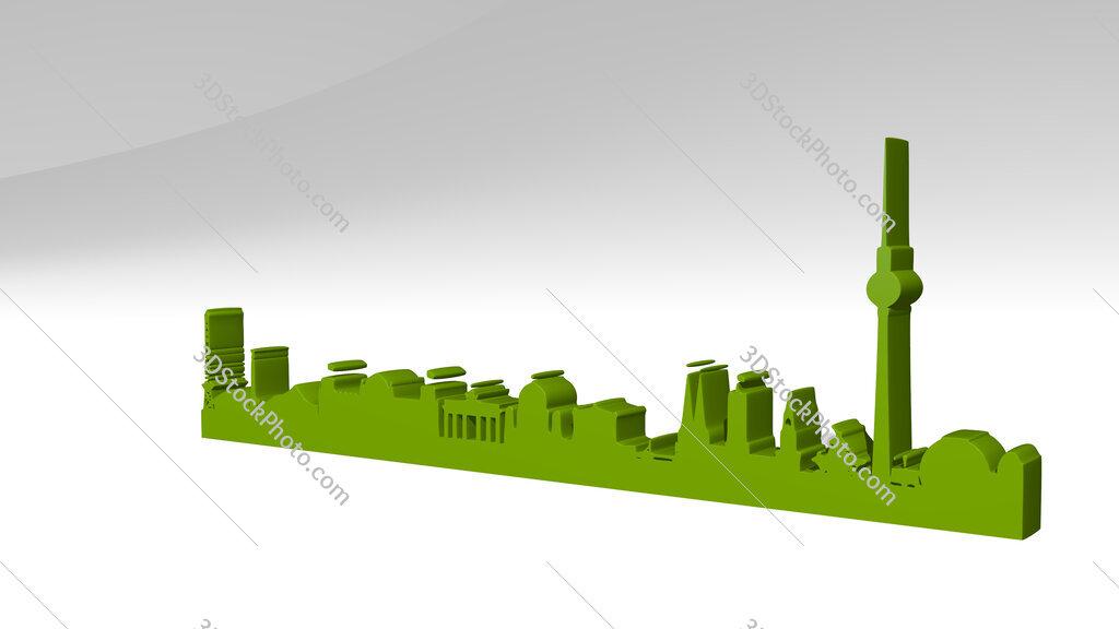 Berlin landscape 3D icon casting shadow