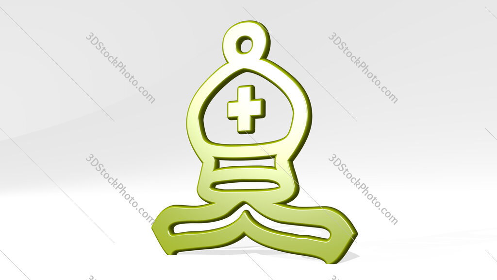 Christian symbol 3D icon casting shadow
