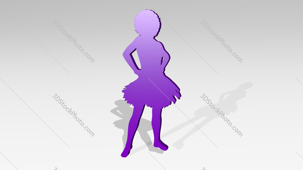 woman dancer with shirt skirt 3D icon casting shadow