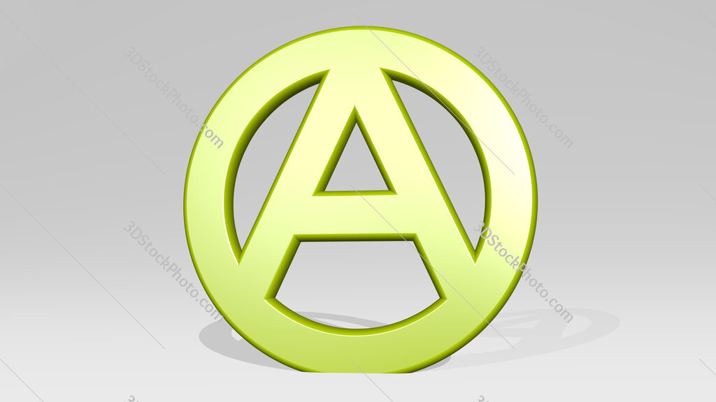 letter A in circle 3D icon casting shadow