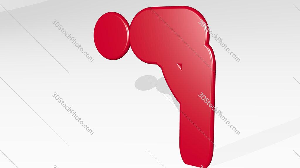 Muslim prayer symbol 3D icon casting shadow