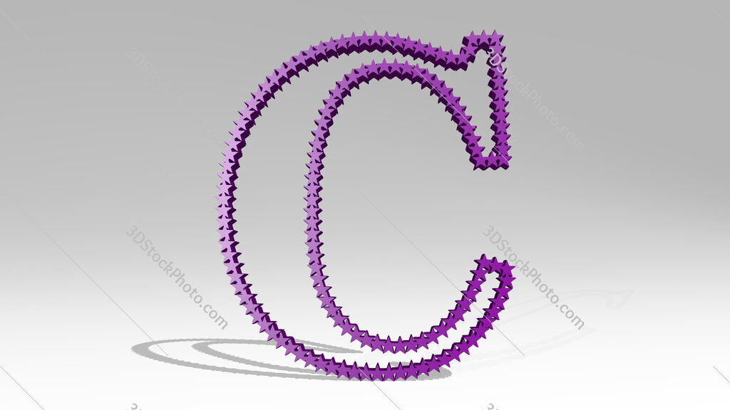 letter C made of stars 3D icon casting shadow