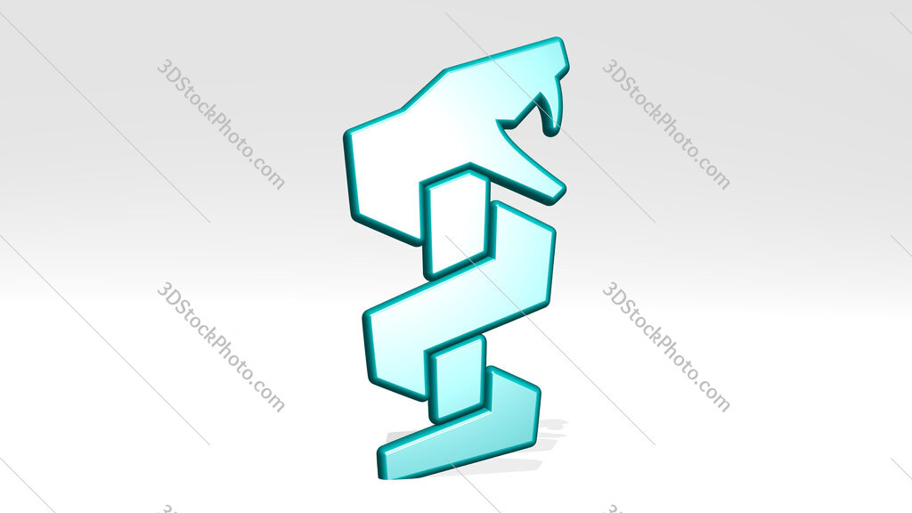 snake medical symbol 3D icon casting shadow