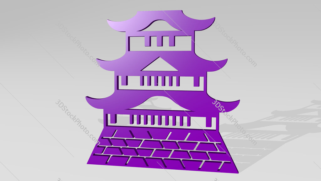 chinese castle 3D icon casting shadow