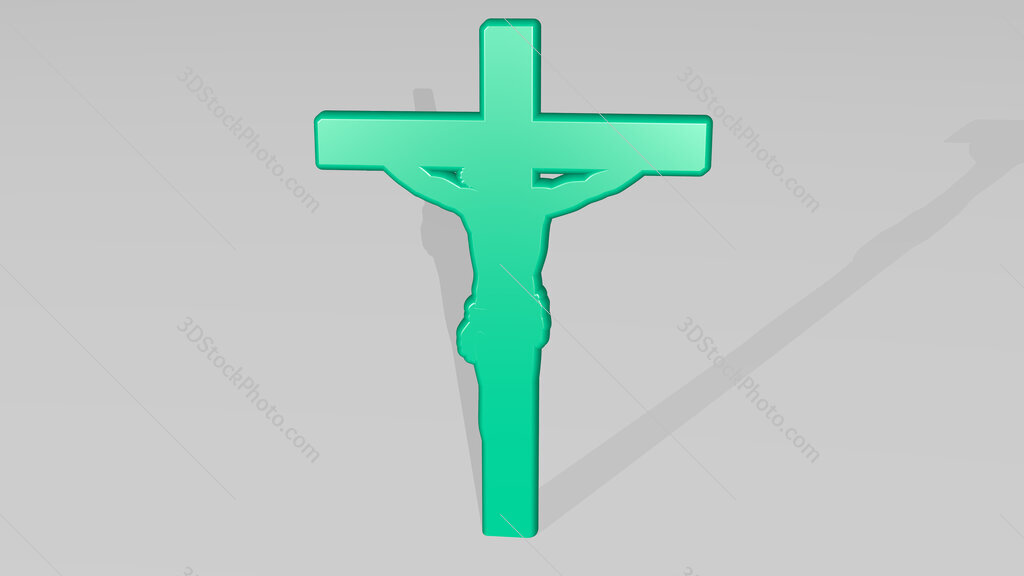 Christian cross with Jesus 3D icon casting shadow