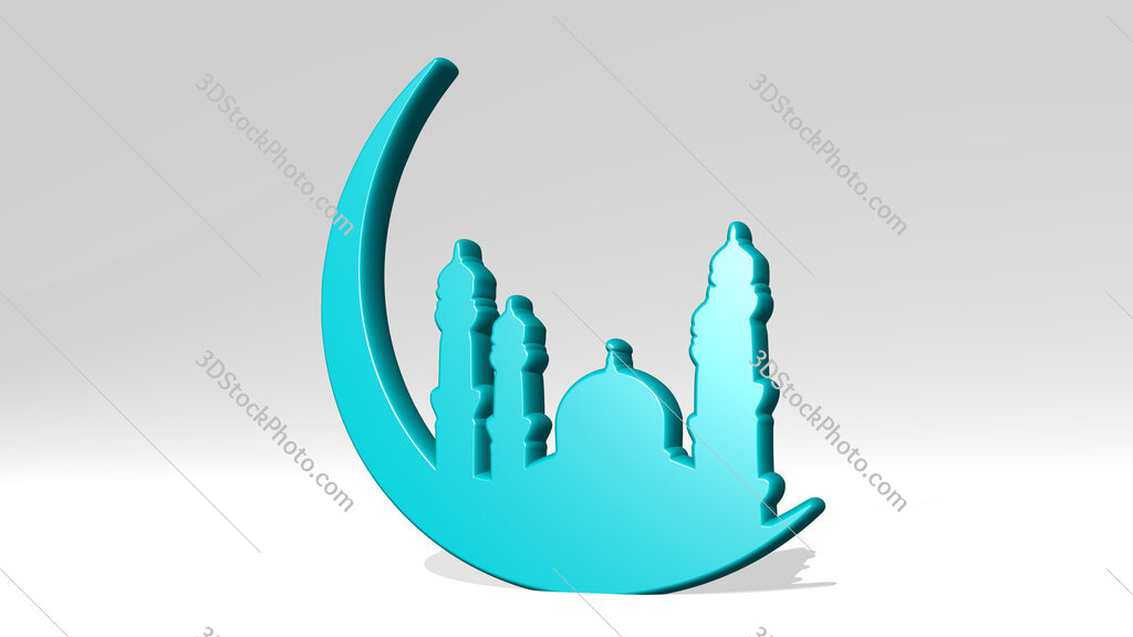 Arabic mosque 3D icon casting shadow