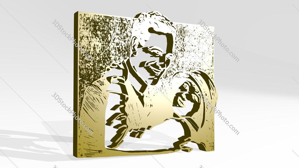 classic movie woman huging man 3D icon casting shadow