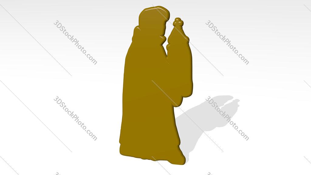 Christian prayer 3D icon casting shadow