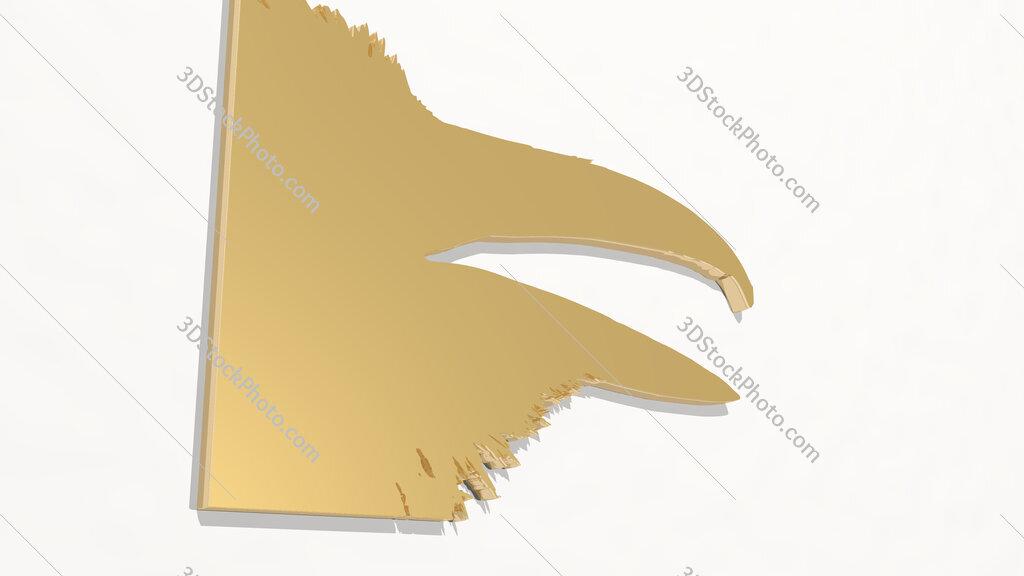 raven beak 3D drawing icon