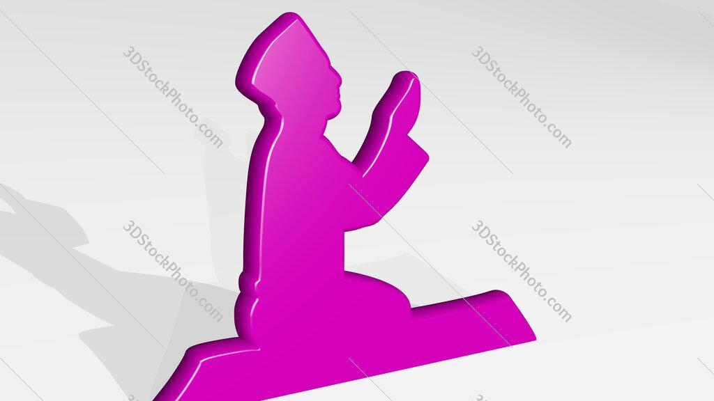 Muslim prayer 3D icon casting shadow