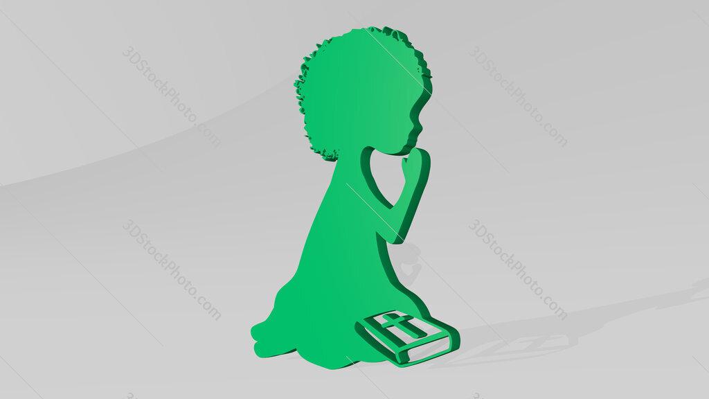 Christian kid praying 3D icon casting shadow